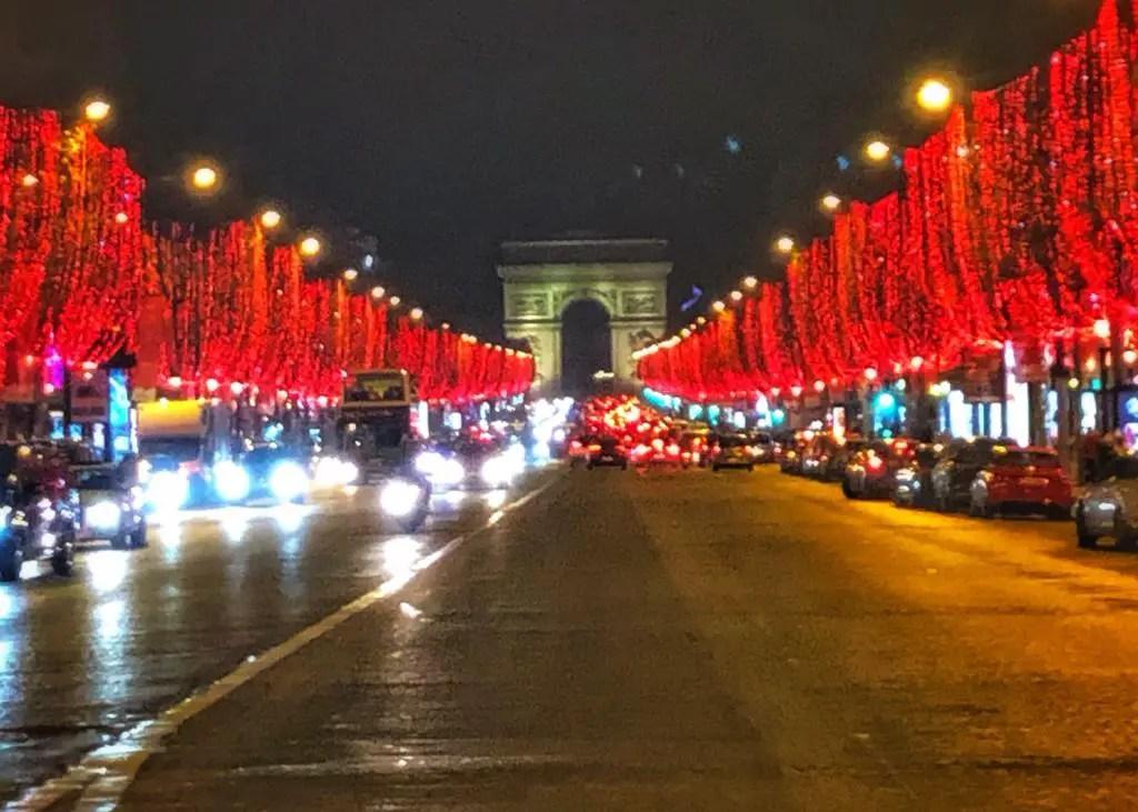 Christmas lights on the Champs