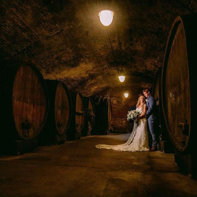 Wine Cellar with a couple engagement picture