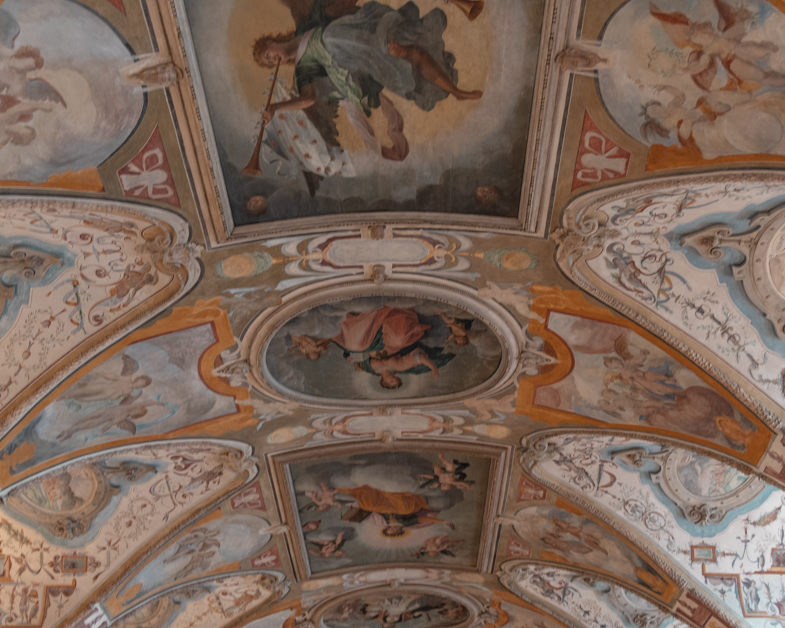 Detailed painted ceiling at Munich Residenz