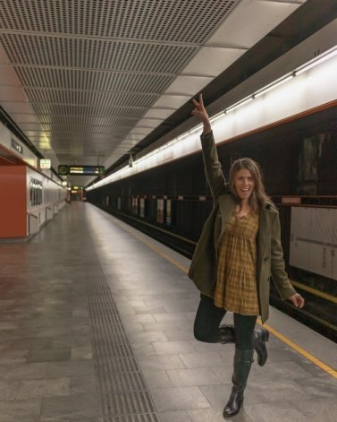 Picture of me at one of the best places to take pictures in Vienna the metro station