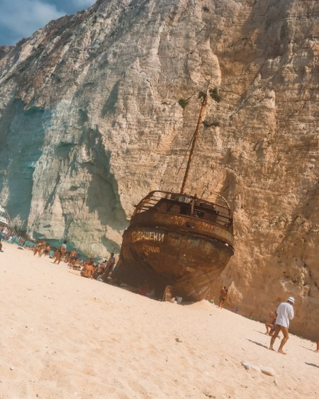 Picture of the ship at Shipwreck beach one of the top things to do in Zakynthos