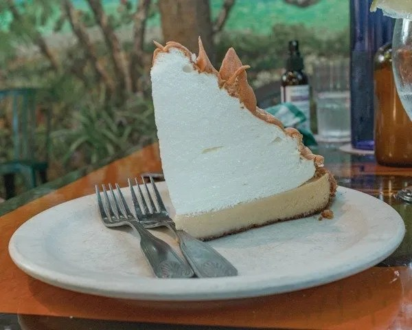 Key Lime pie on a table from Blue Heaven