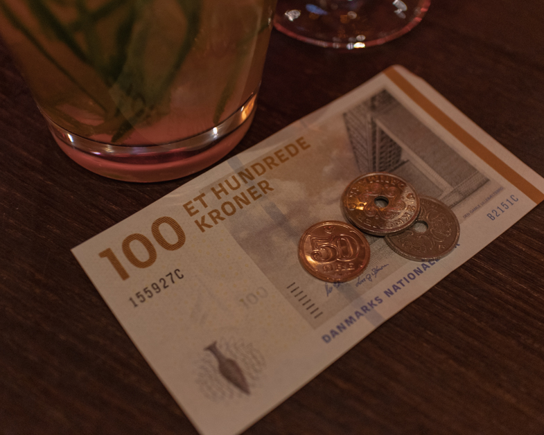 Picture of what the currency looks like when spending one day in Copenhagen