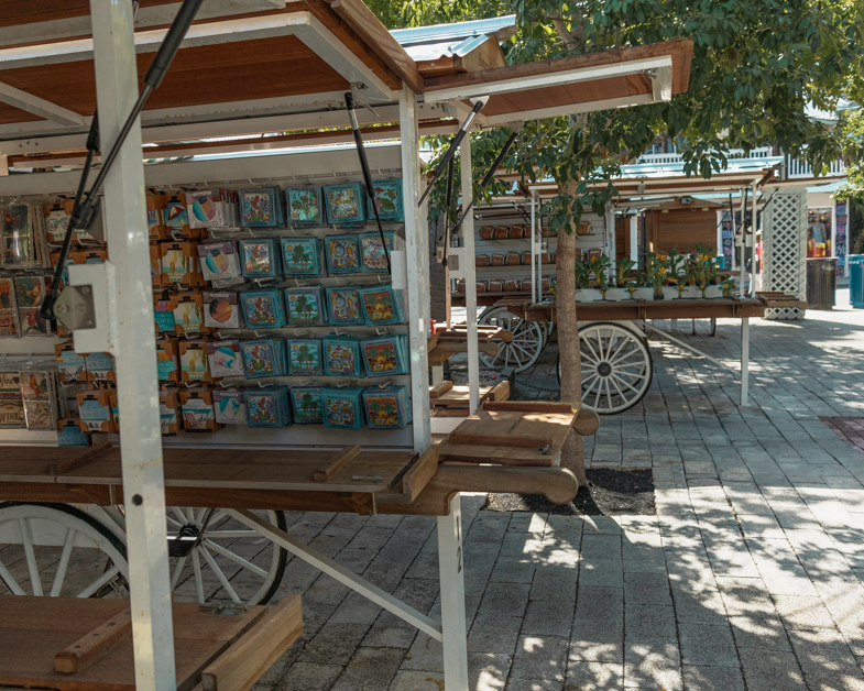 Picture of wagons with souvenirs near Mallory Square in Key West.