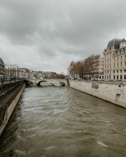 Picture of a canal and bridge in Paris