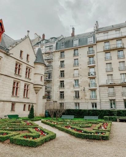 Jardin de hotel de sens garden outside of the library