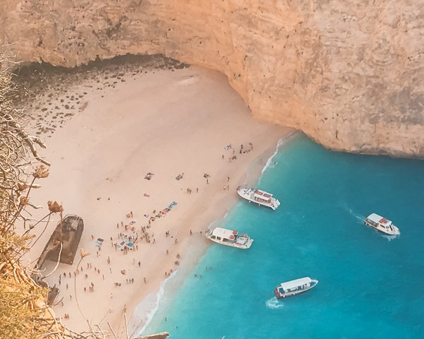 Aerial view of Shipwreck Beach one of the many things to do in Zakynthos