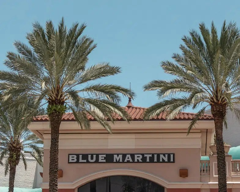 Blue Martini sign in Fort Lauderdale.