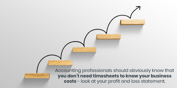 Accounting professionals should obviously know that you don't need timesheets to know your business costs - look at your profit and loss statement.