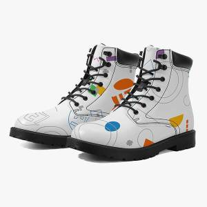 Print On Demand AOP Casual Leather Boots