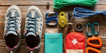 Travel items for hiking