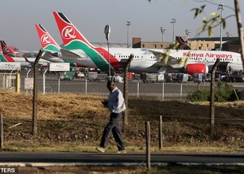 The unnamed man fell from the landing gear of a jet as it passed over south London. Pictured are Kenya Airways planes parked at the Jomo Kenyatta International Airport near Nairobi (file image)