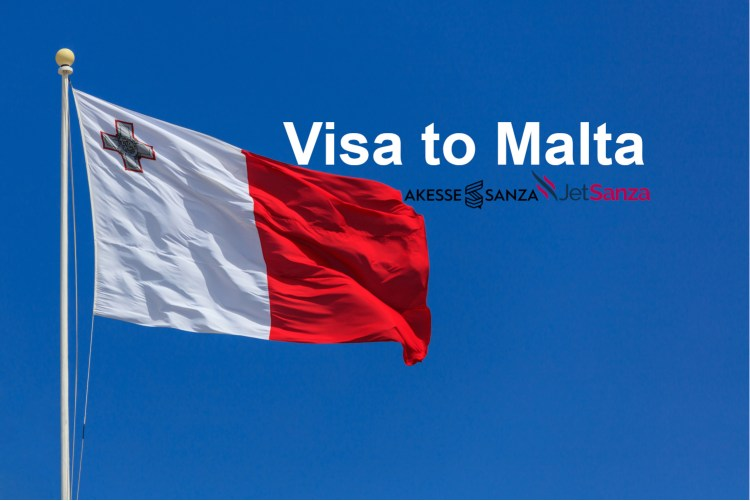 Malta flag. Malta flag on a flagpole waving on a bright blue sky background