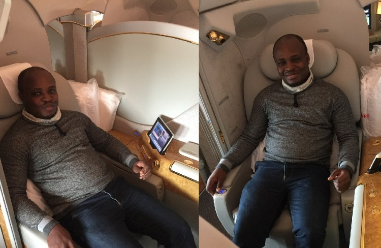 Akesse Sanza on Emirates First Class