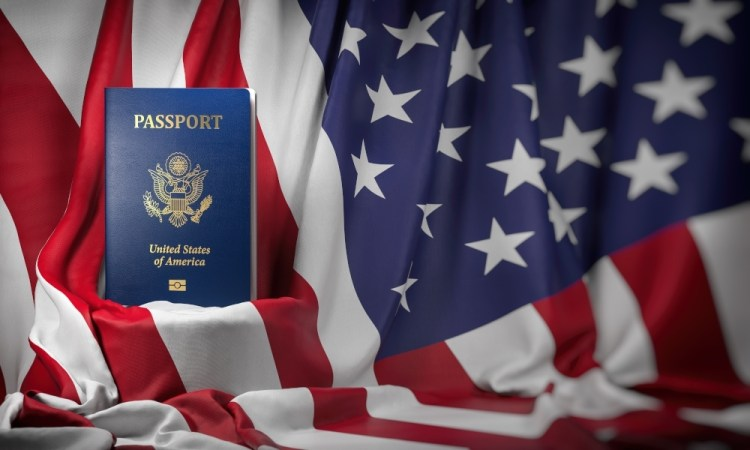 USA passport on the flag of the US United Stetes.