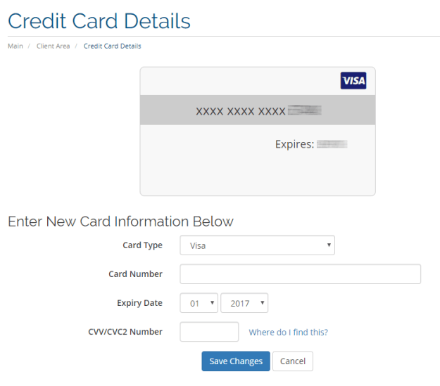 Update Credit Card Information