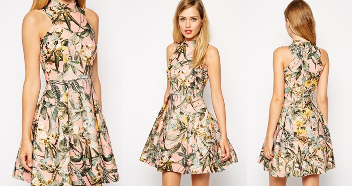Asos Structured Skater Dress with Tropcial Print