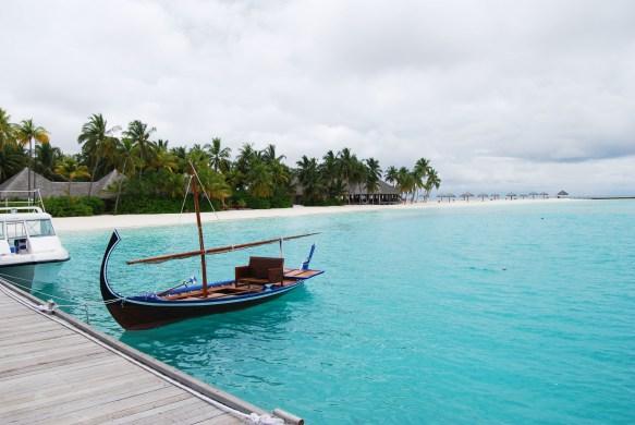 moored boat at veligandu island maldives