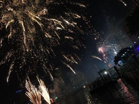 Fireworks, Apsara cruise, Bangkok, Thailand