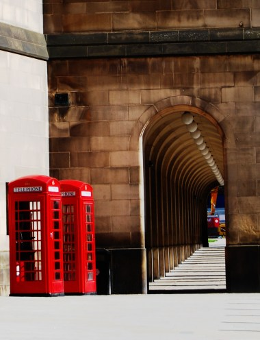 St Peters Square Manchester Phone Boxes Perspective arches