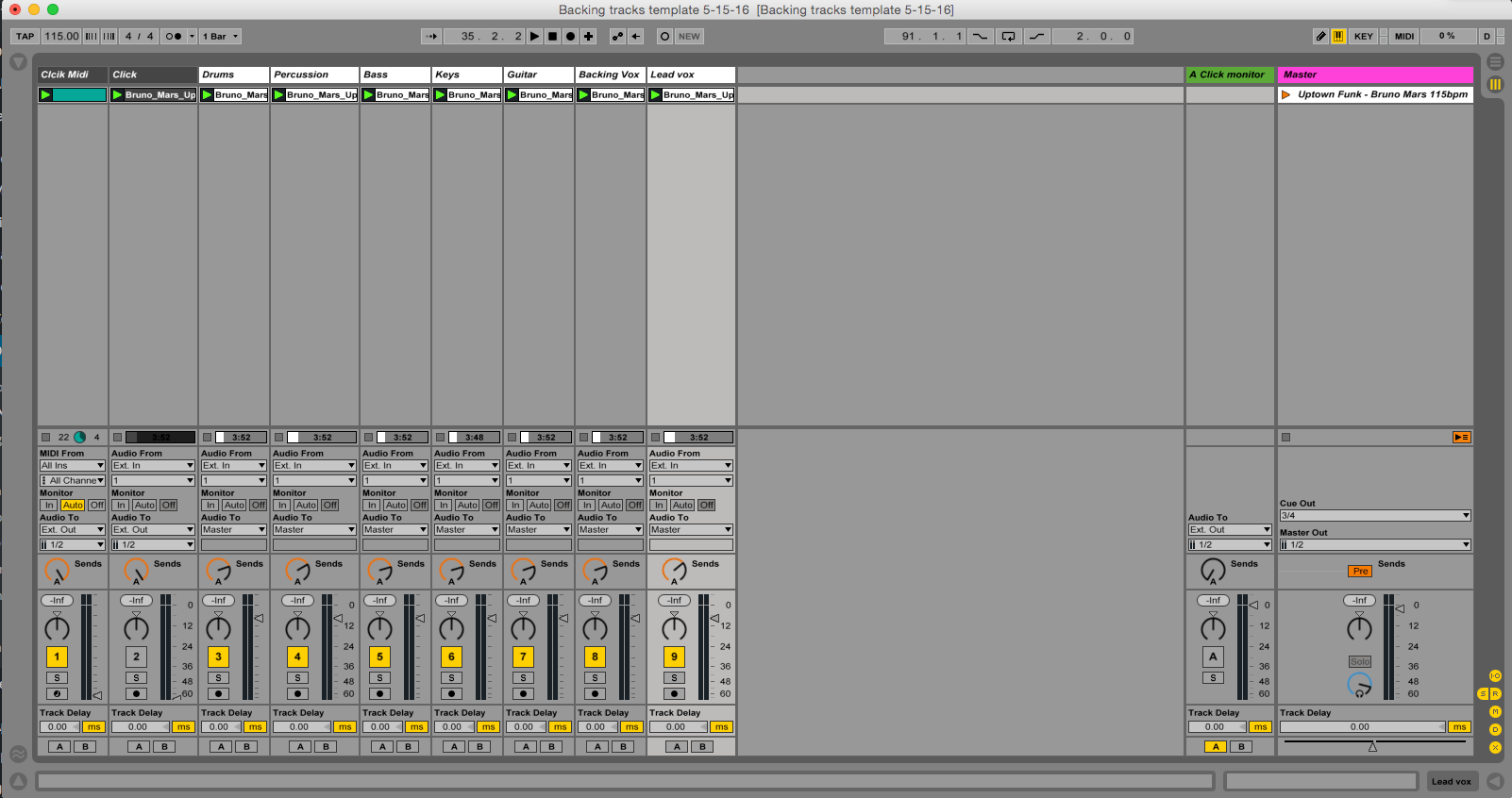 Ableton 9 5 & up Backing Tracks Template