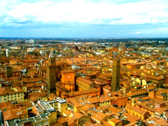 """The city-center of Bologna. The city is often called """"The learned, the red and the fat"""" The red partly comes from the red rooftops in Bologna."""