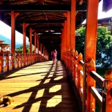 Beautiful bridge leading to Punakha Dzong