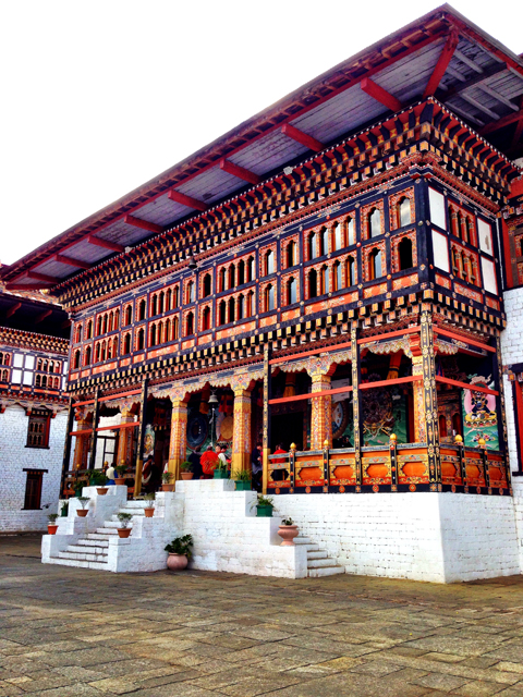 Buddhist shrine at Tashichho Dzong in Thimphu