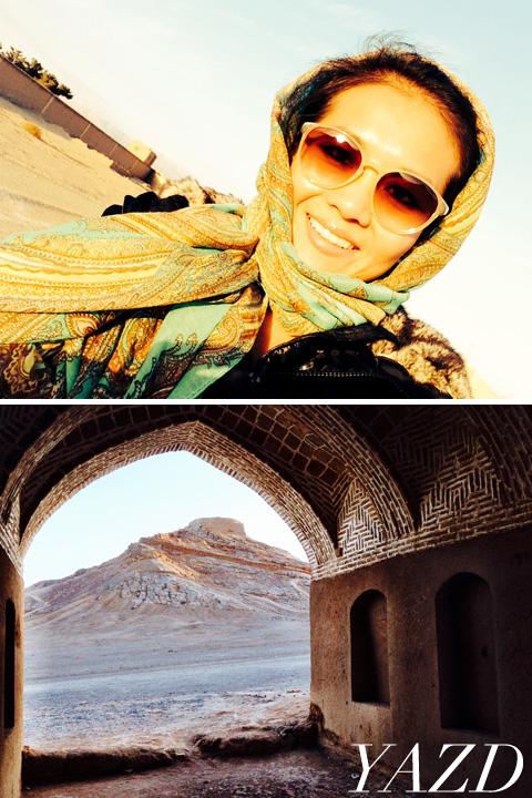 Iran, Yazd green scarf