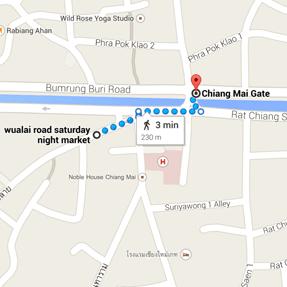 map saturday night market chiang mai thailand