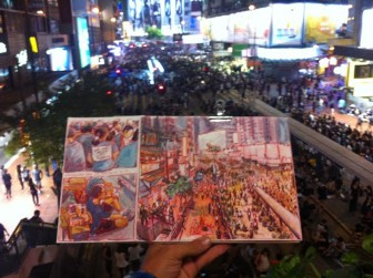Luis sketches the protests from his vantage point in Admiralty.