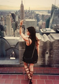 Rola takes in the view of New York City in statement gladiator sandals. If you're going spend the day in skyscraping strappies, make sure that they're comfortable (the Spartans didn't hobble). Since you've got your statement piece covered, there's no need to stress about accessories up top. An A-line skirt adds just the right amount of drama, the rest is up to you. Shop Rola's look.