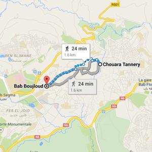 map Chouara Tannery Fez Morocco