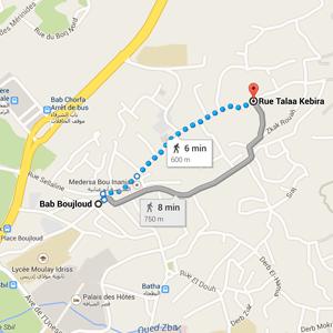 map fez blue gate morocco