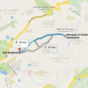 map Kairaouine mosque fez morocco