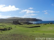 View of Ahu Tongariki from a distance. Easter Island