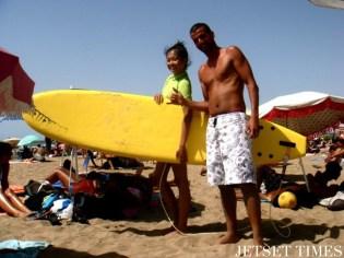 Surfing on Mehdia Beach (Kenitra, Morocco)