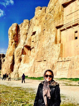Naqsh-e Rustam - an ancient necropolis/ancient Iranian rock reliefs cut into the cliff.