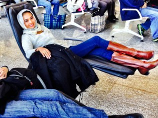 Waiting for our flight in Shiraz