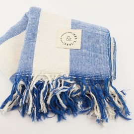 Handwoven Beach Throw for Men & Women - Duo in Sailor Blue with Off White