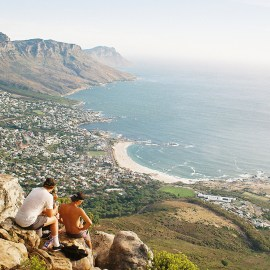 The view of Twelve Apostles from Lion's Head Peak in Cape Town, South Africa.
