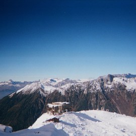 Views of Chamonix, France from Mont Blanc.