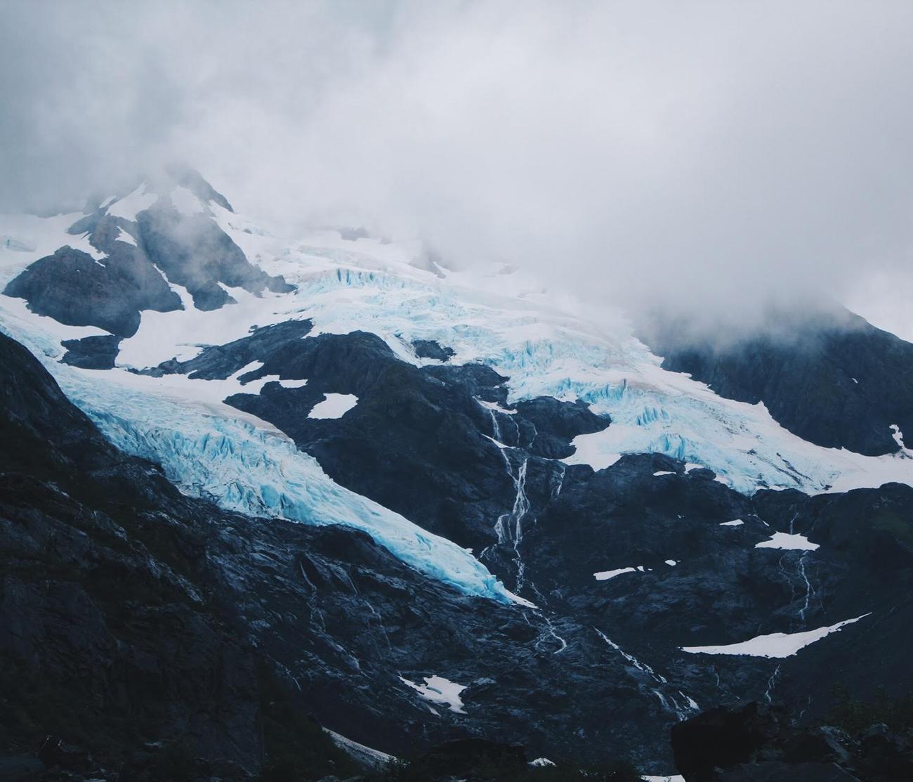 Mid-summer glaciers along the ocean.