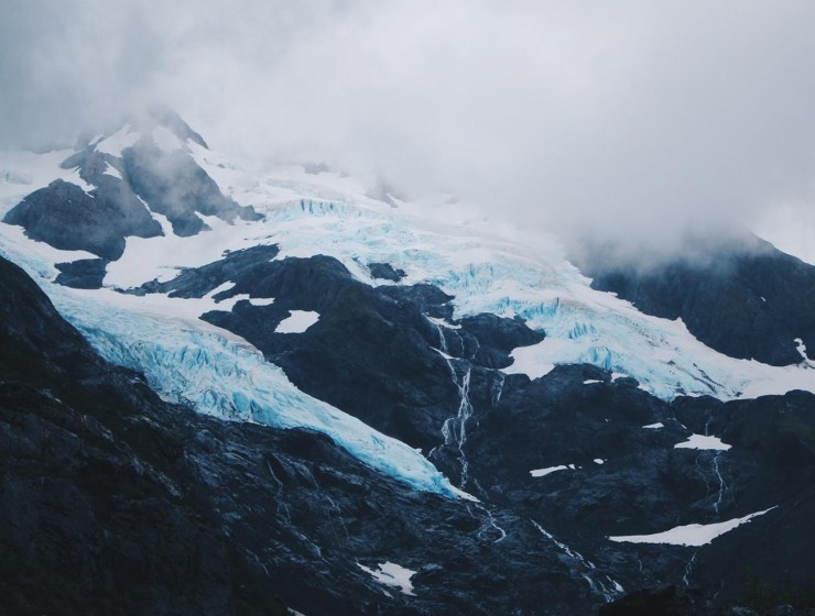 Mid-summer glaciers along the ocean.