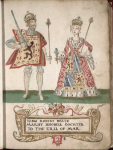 Robert the Bruce and his first wife Isabella of Mar, as depicted in the 1562 Forman Armorial.