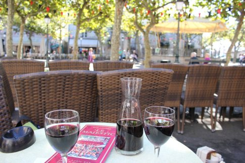 Wine at cafe in St. Jean de Luz, France