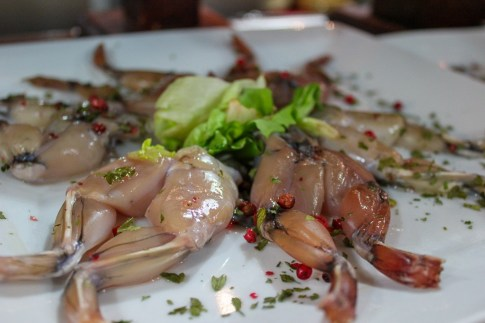 Frog Leg pintxos ready to be cooked at Bar Astelena in San Sebastian, Spain