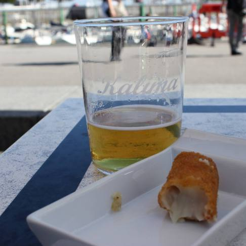 Ordering One Croquette in Hondarribia, Spain
