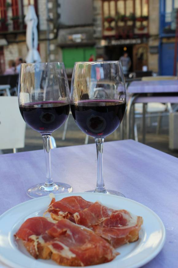 Eating our first pintxos in Hondarribia, Spain