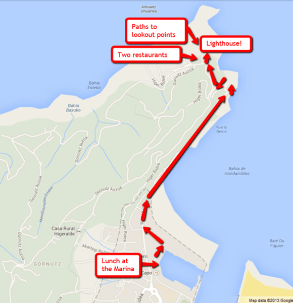 Map to the Hondarribia lighthouse